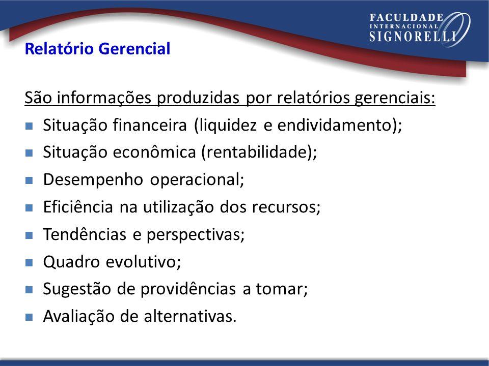 São informações produzidas por relatórios gerenciais: