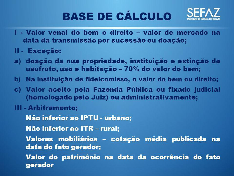 BASE DE CÁLCULO I - Valor venal do bem o direito – valor de mercado na data da transmissão por sucessão ou doação;