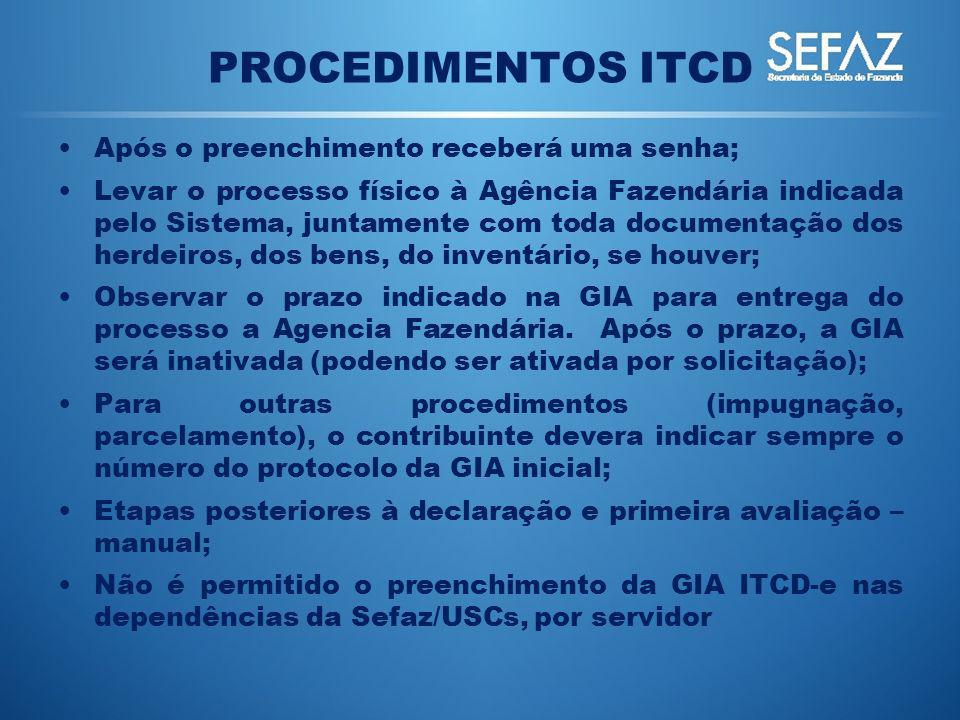 PROCEDIMENTOS ITCD Após o preenchimento receberá uma senha;