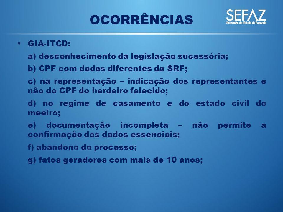 OCORRÊNCIAS GIA-ITCD: a) desconhecimento da legislação sucessória;