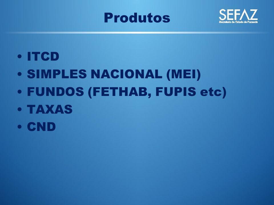 Produtos ITCD SIMPLES NACIONAL (MEI) FUNDOS (FETHAB, FUPIS etc) TAXAS