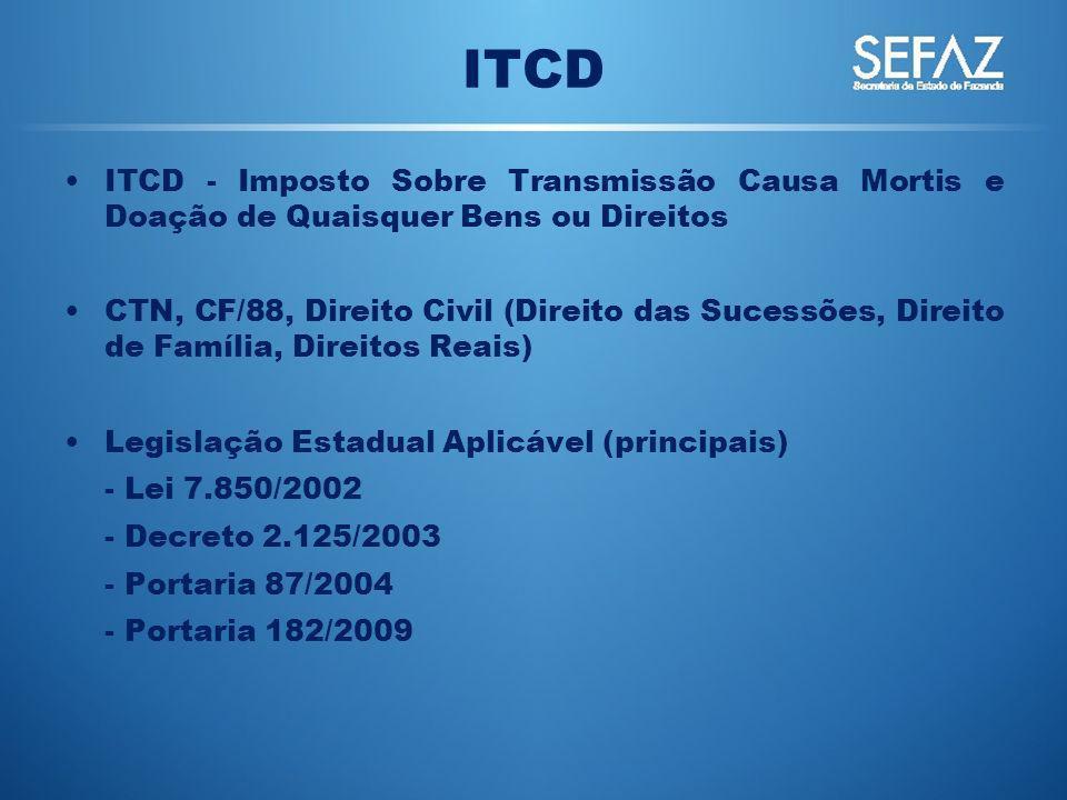ITCD ITCD - Imposto Sobre Transmissão Causa Mortis e Doação de Quaisquer Bens ou Direitos.