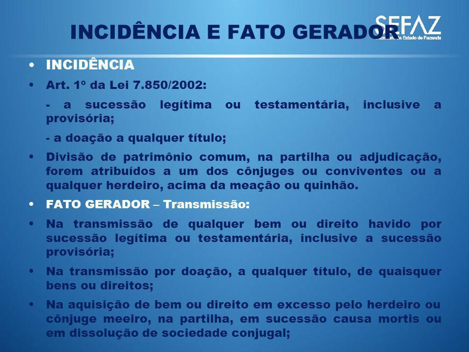 INCIDÊNCIA E FATO GERADOR