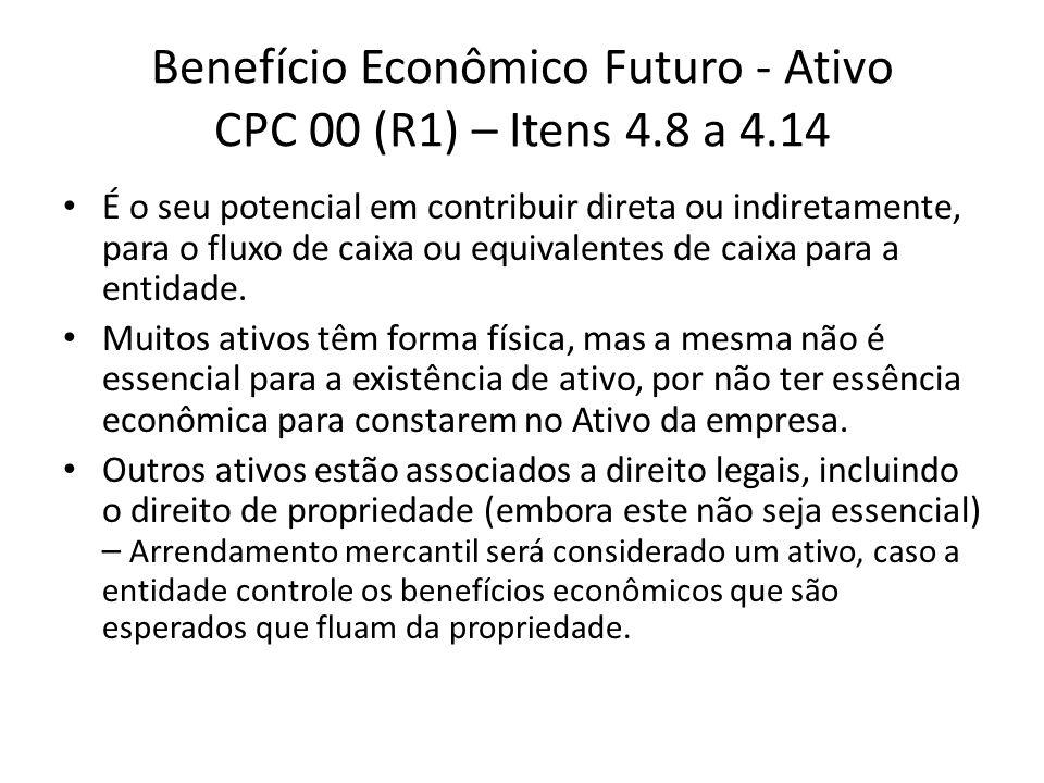Benefício Econômico Futuro - Ativo CPC 00 (R1) – Itens 4.8 a 4.14