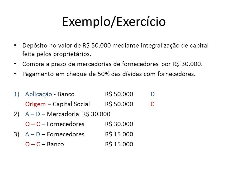 Exemplo/Exercício Depósito no valor de R$ 50.000 mediante integralização de capital feita pelos proprietários.