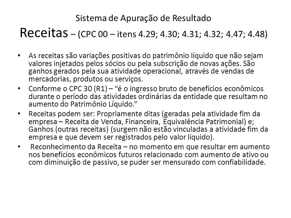 Sistema de Apuração de Resultado Receitas – (CPC 00 – itens 4. 29; 4