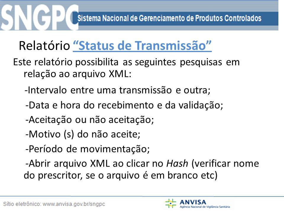 Relatório Status de Transmissão