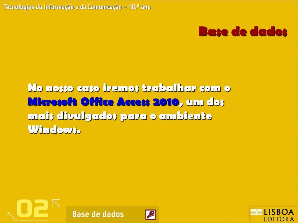 Base de dados No nosso caso iremos trabalhar com o Microsoft Office Access 2010, um dos mais divulgados para o ambiente Windows.