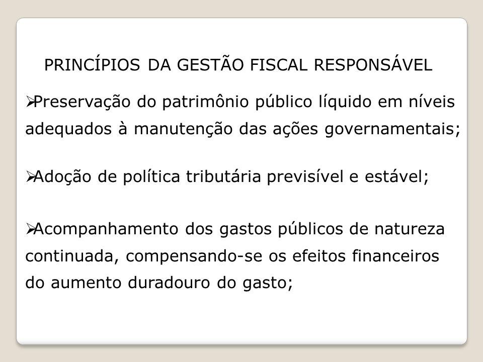 PRINCÍPIOS DA GESTÃO FISCAL RESPONSÁVEL