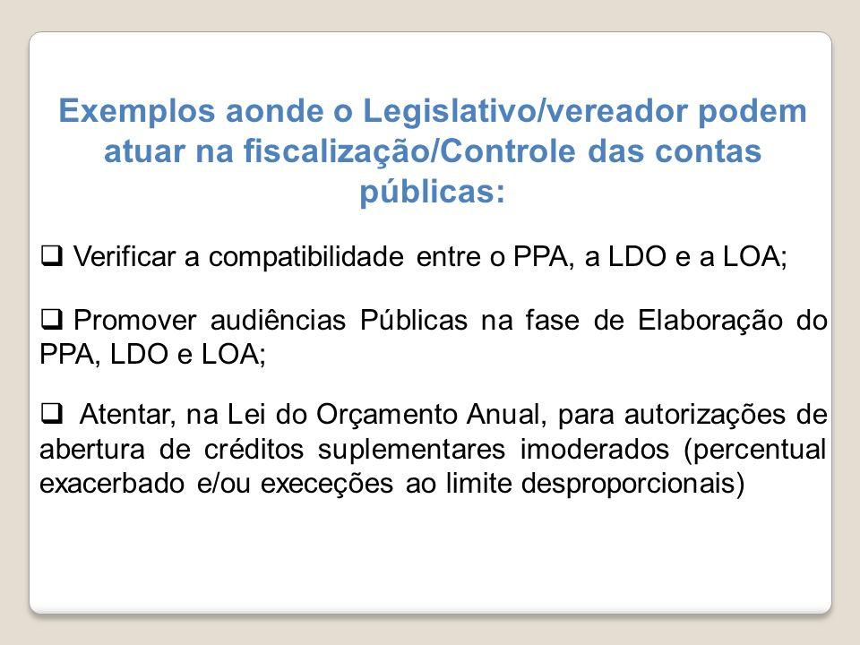 Exemplos aonde o Legislativo/vereador podem atuar na fiscalização/Controle das contas públicas: