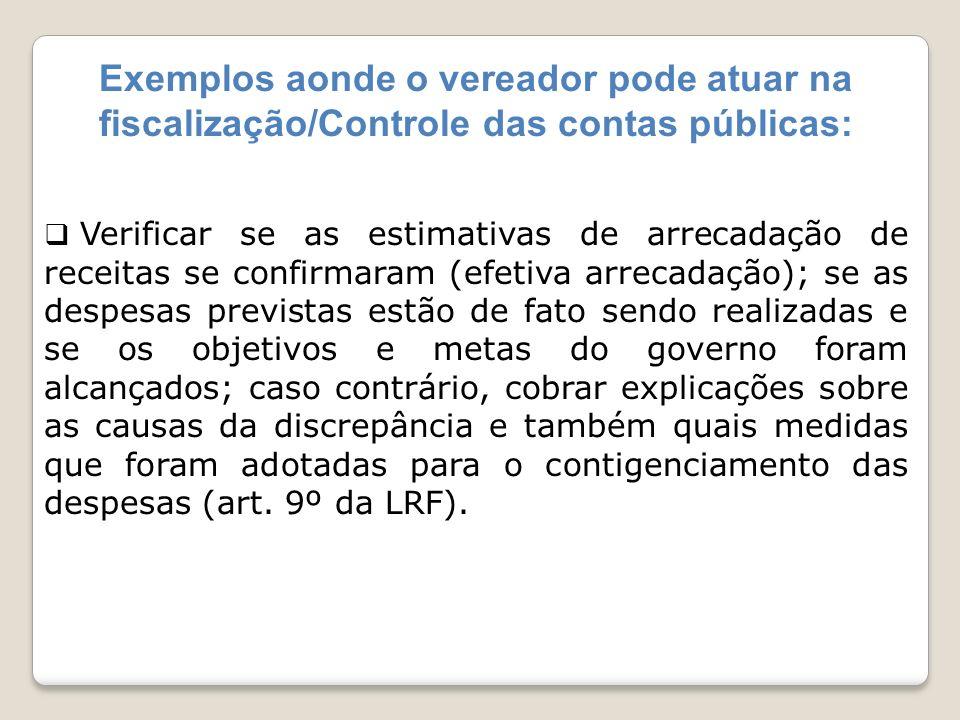 Exemplos aonde o vereador pode atuar na fiscalização/Controle das contas públicas: