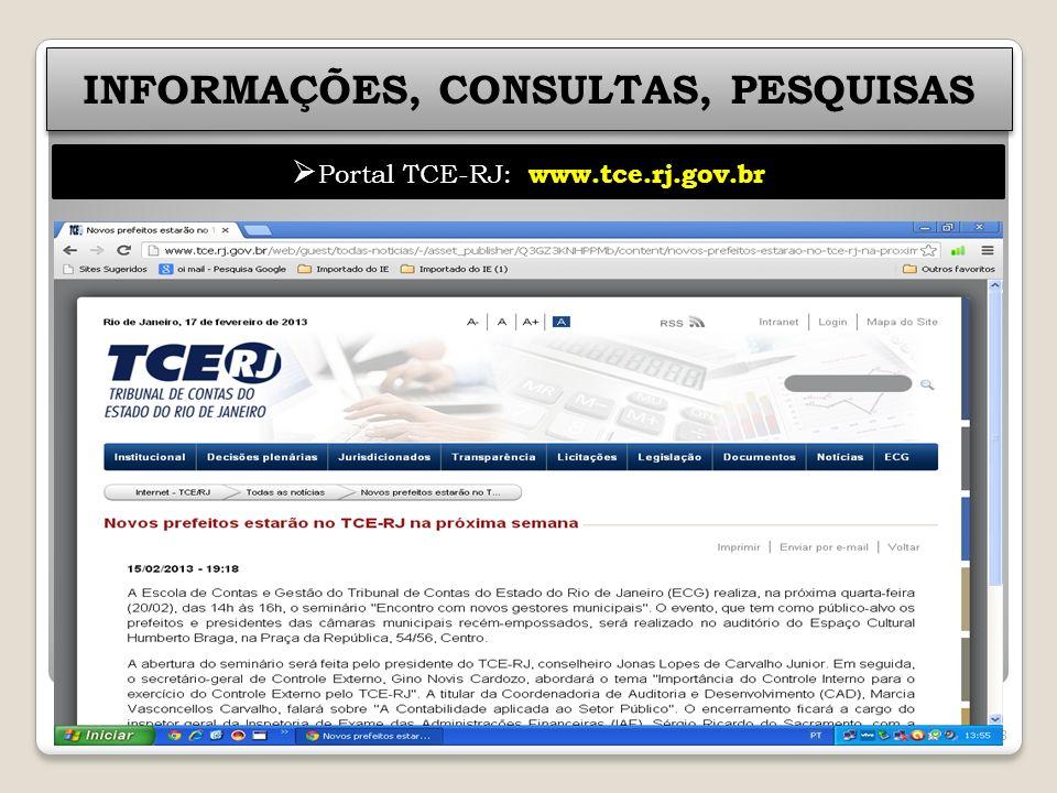 INFORMAÇÕES, CONSULTAS, PESQUISAS