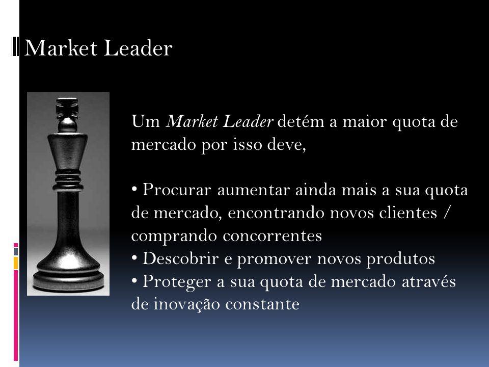 Market Leader Um Market Leader detém a maior quota de mercado por isso deve,