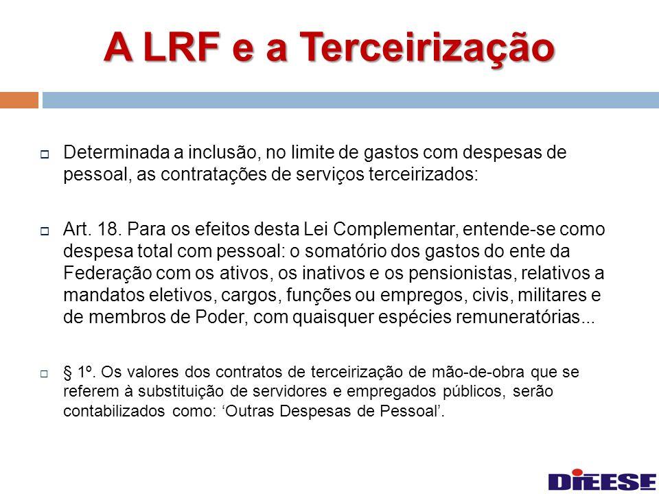 A LRF e a Terceirização Determinada a inclusão, no limite de gastos com despesas de pessoal, as contratações de serviços terceirizados: