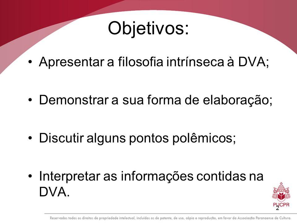 Objetivos: Apresentar a filosofia intrínseca à DVA;
