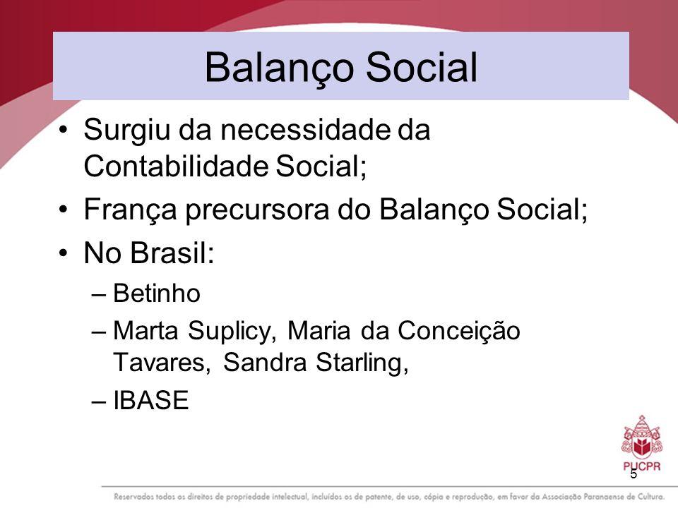 Balanço Social Surgiu da necessidade da Contabilidade Social;