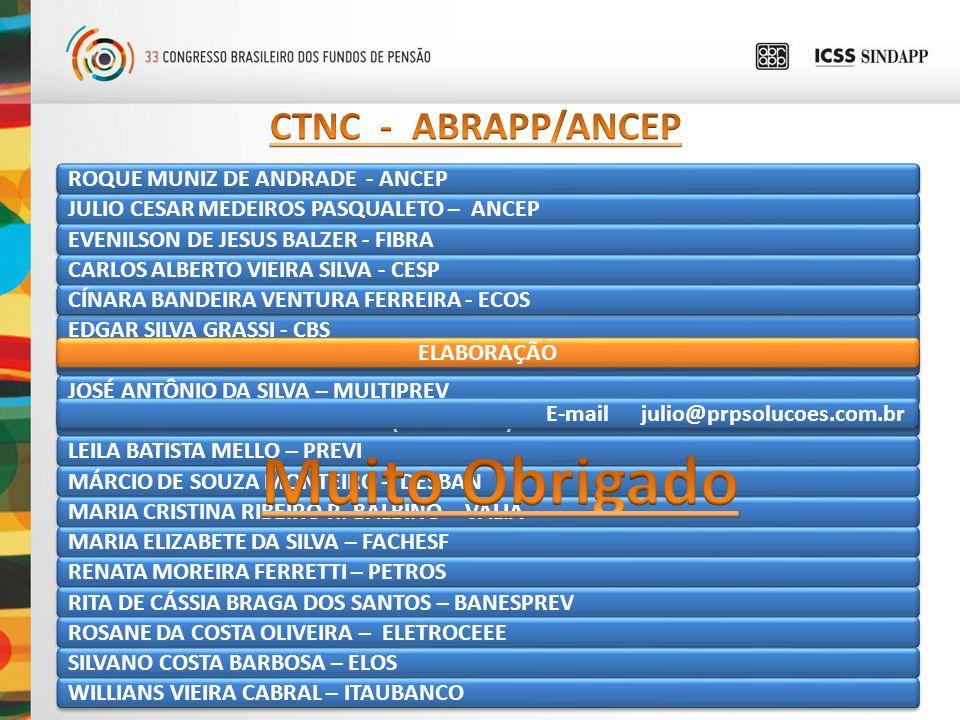 Muito Obrigado CTNC - ABRAPP/ANCEP