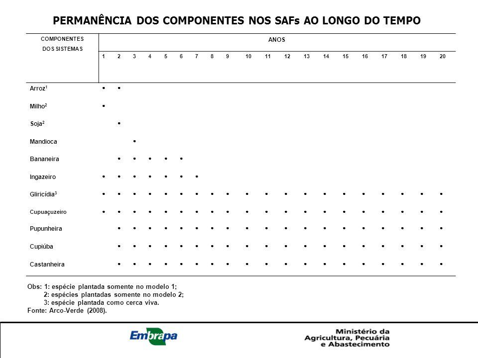 PERMANÊNCIA DOS COMPONENTES NOS SAFs AO LONGO DO TEMPO