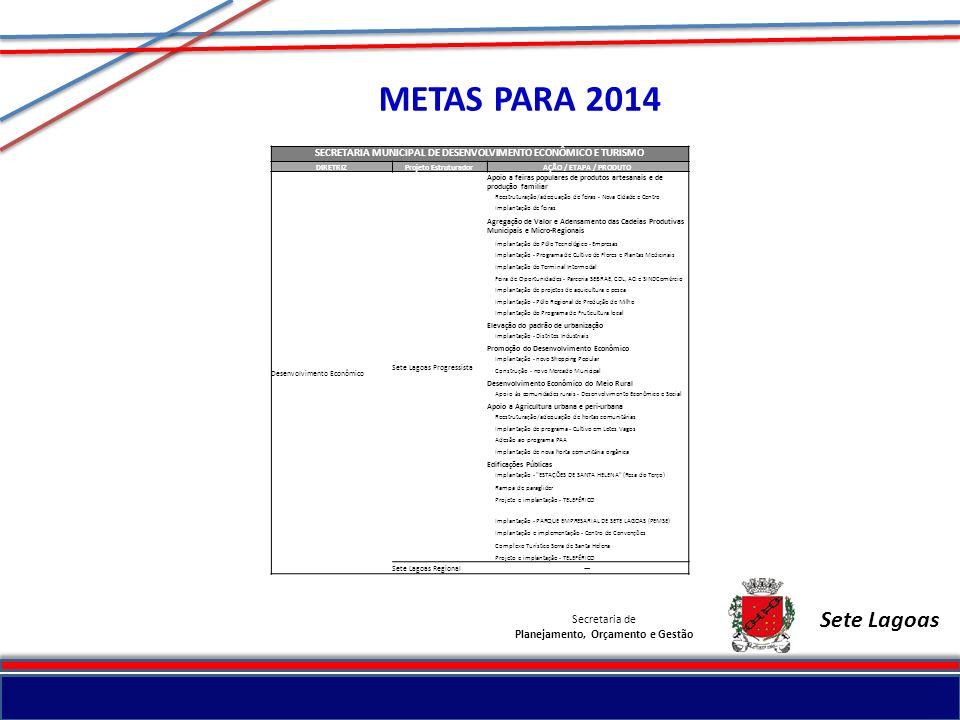 METAS PARA 2014 Sete Lagoas Secretaria de