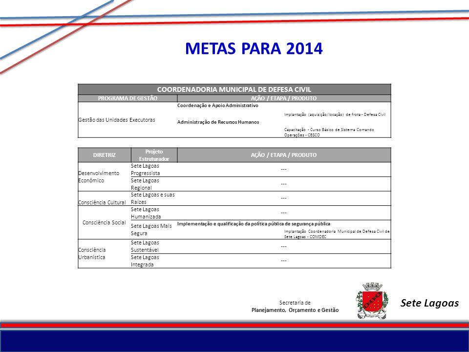 METAS PARA 2014 Sete Lagoas COORDENADORIA MUNICIPAL DE DEFESA CIVIL