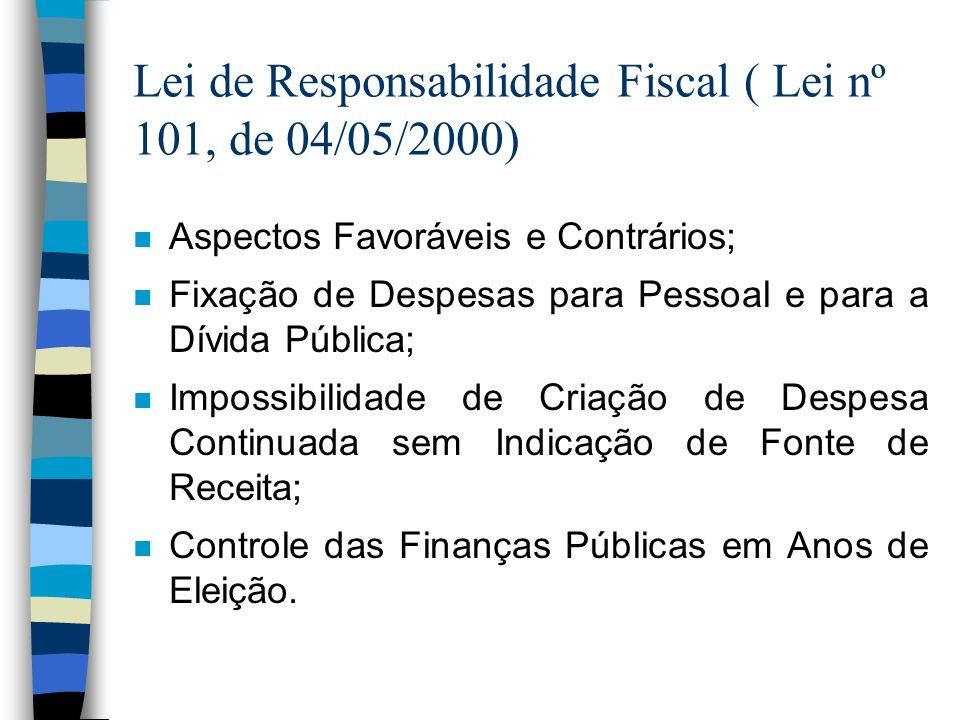 Lei de Responsabilidade Fiscal ( Lei nº 101, de 04/05/2000)