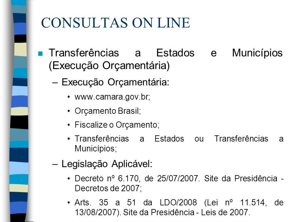 CONSULTAS ON LINE Transferências a Estados e Municípios (Execução Orçamentária) Execução Orçamentária: