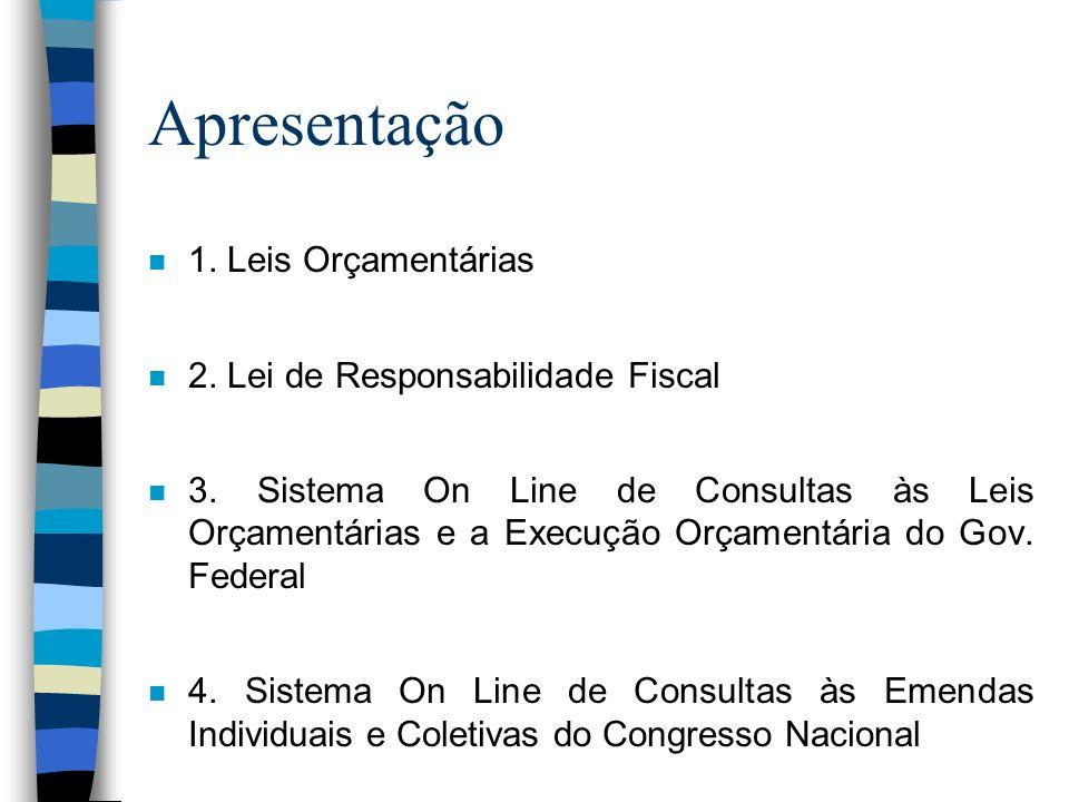 Apresentação 1. Leis Orçamentárias 2. Lei de Responsabilidade Fiscal