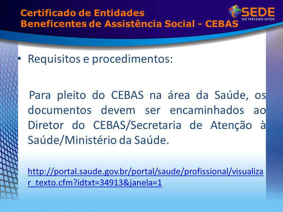 Certificado de Entidades Beneficentes de Assistência Social - CEBAS