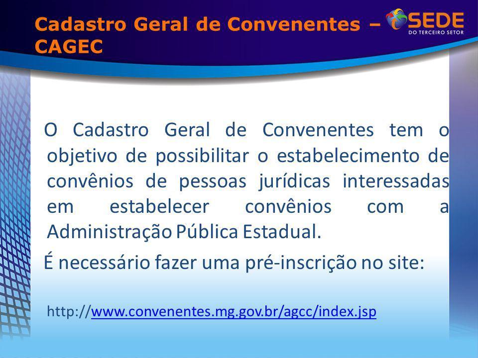 Cadastro Geral de Convenentes – CAGEC