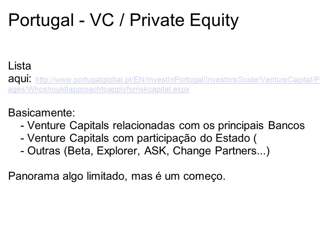 Portugal - VC / Private Equity