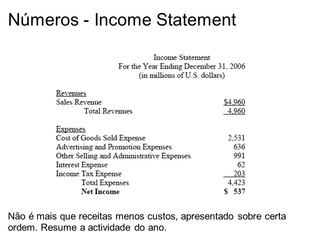 Números - Income Statement