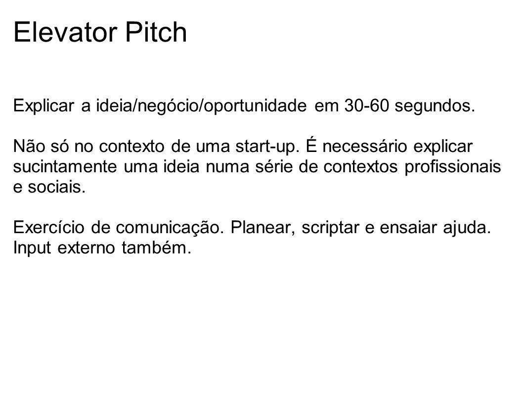 Elevator Pitch Explicar a ideia/negócio/oportunidade em 30-60 segundos.