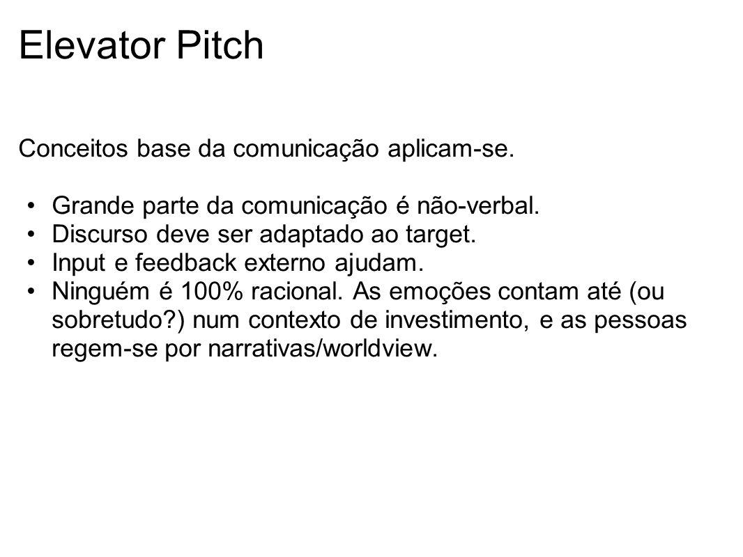 Elevator Pitch Conceitos base da comunicação aplicam-se.
