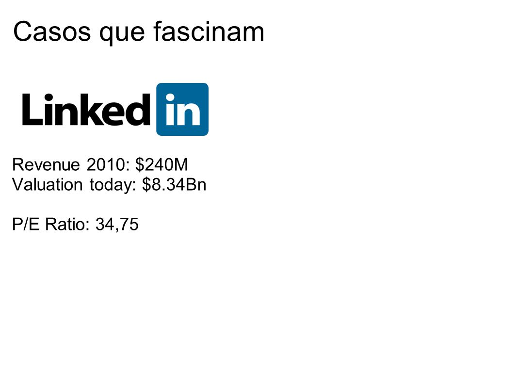 Casos que fascinam Revenue 2010: $240M Valuation today: $8.34Bn