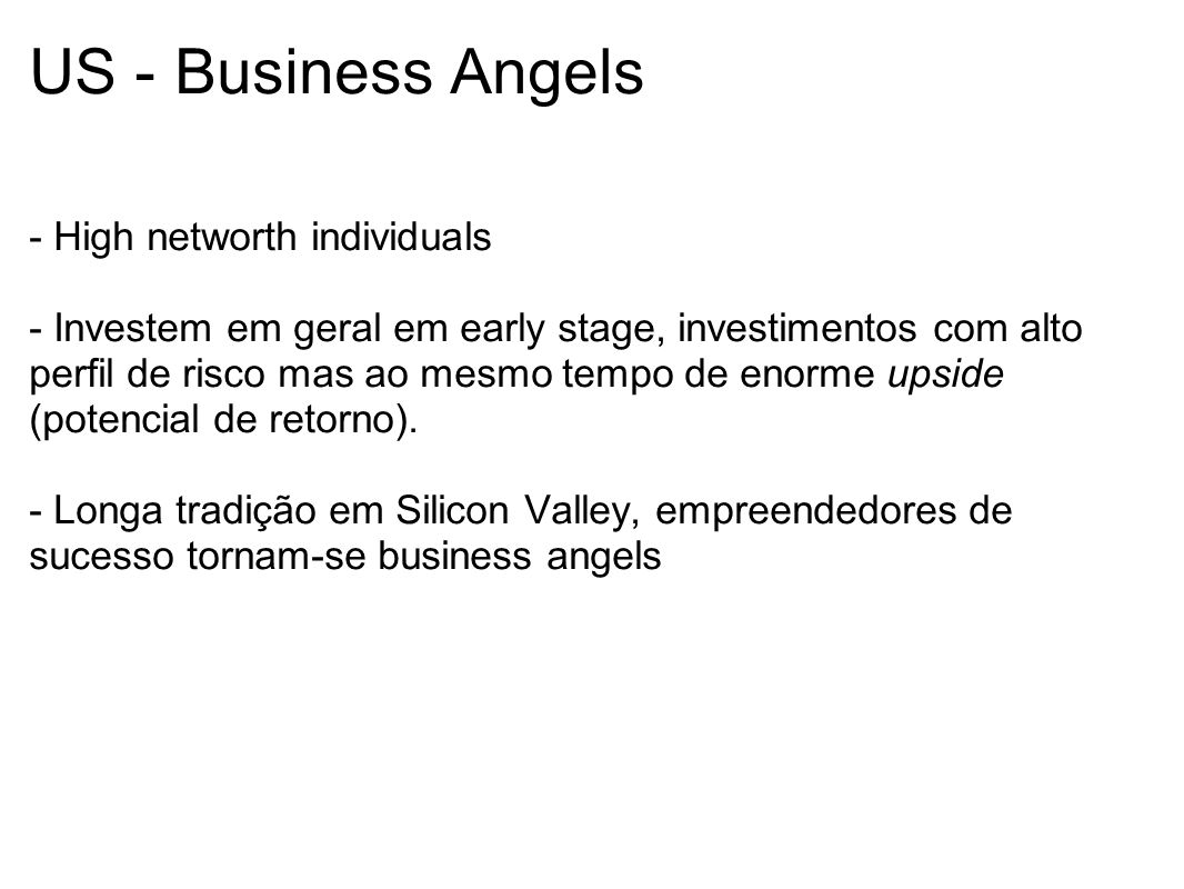 US - Business Angels - High networth individuals