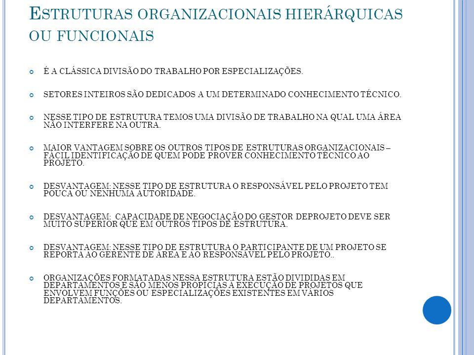 Estruturas organizacionais hierárquicas ou funcionais