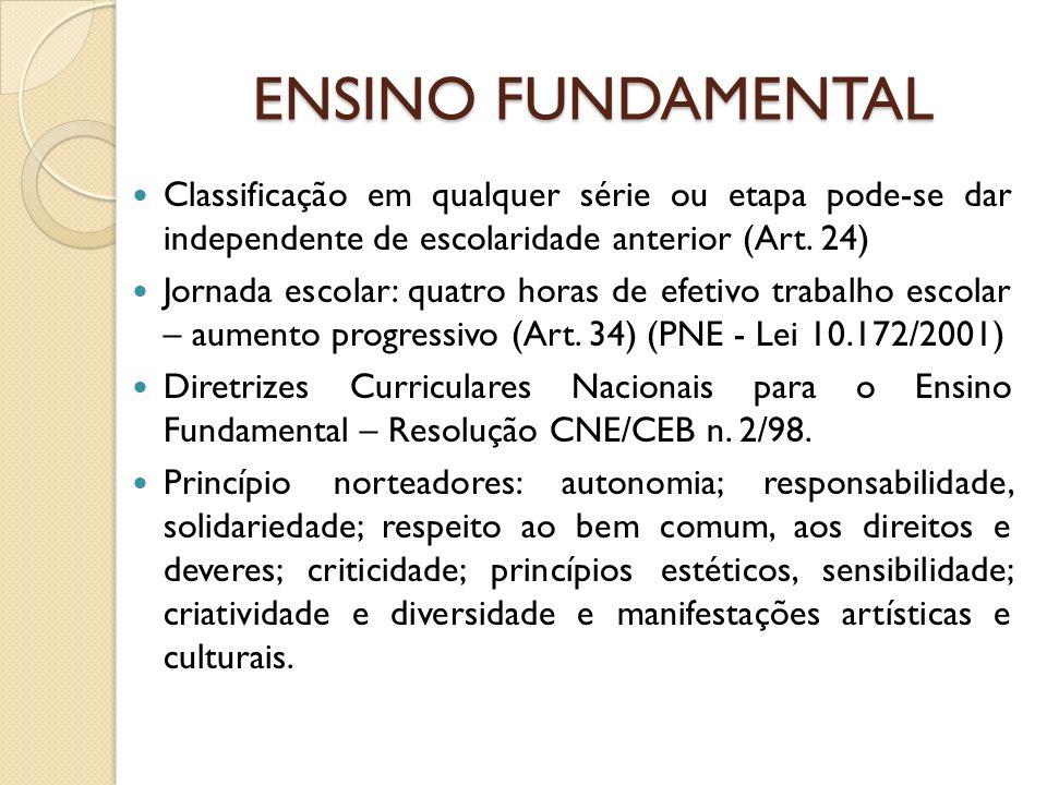 ENSINO FUNDAMENTAL Classificação em qualquer série ou etapa pode-se dar independente de escolaridade anterior (Art. 24)