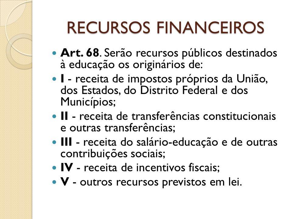 RECURSOS FINANCEIROS Art. 68. Serão recursos públicos destinados à educação os originários de: