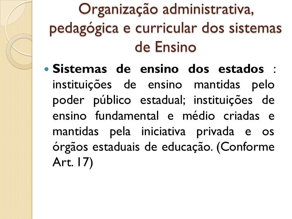 Organização administrativa, pedagógica e curricular dos sistemas de Ensino
