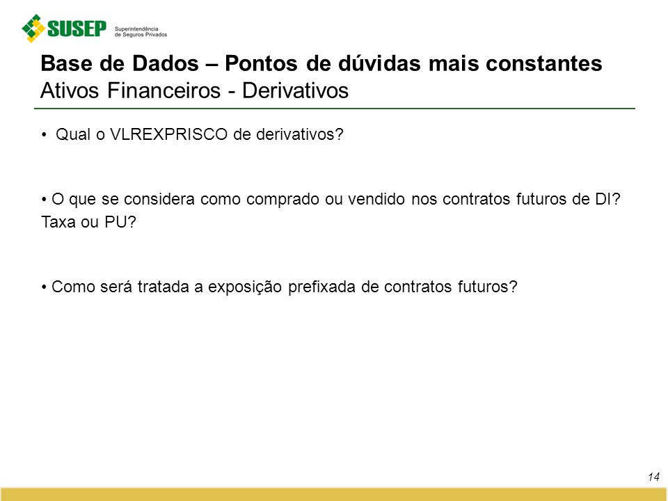 Base de Dados – Pontos de dúvidas mais constantes Ativos Financeiros - Derivativos