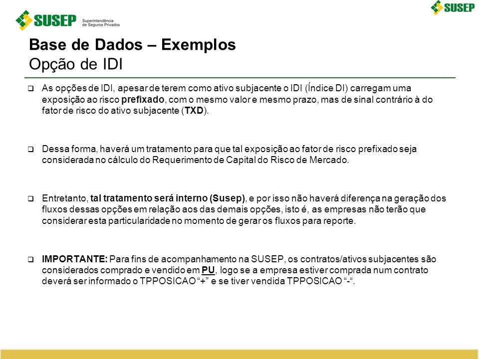Base de Dados – Exemplos Opção de IDI