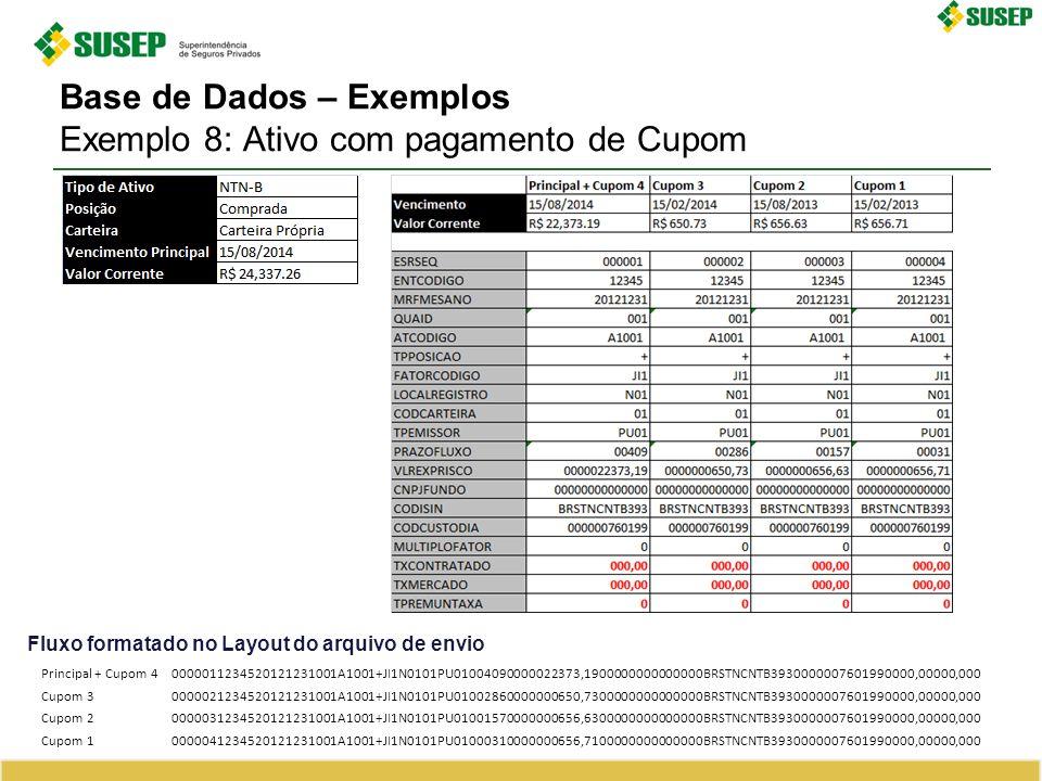 Base de Dados – Exemplos Exemplo 8: Ativo com pagamento de Cupom