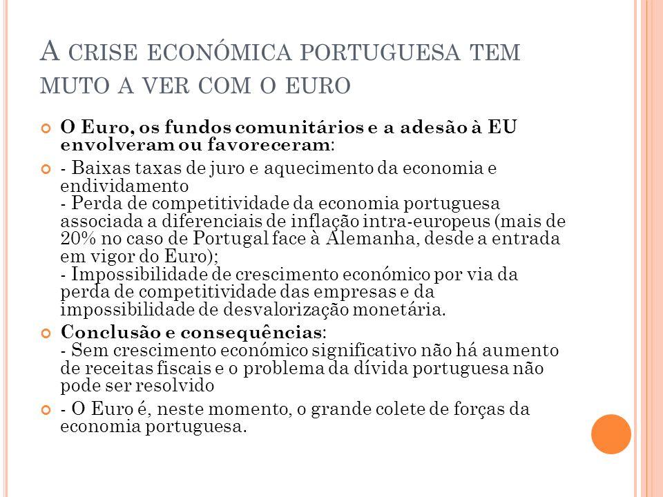 A crise económica portuguesa tem muto a ver com o euro