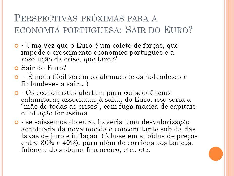 Perspectivas próximas para a economia portuguesa: Sair do Euro