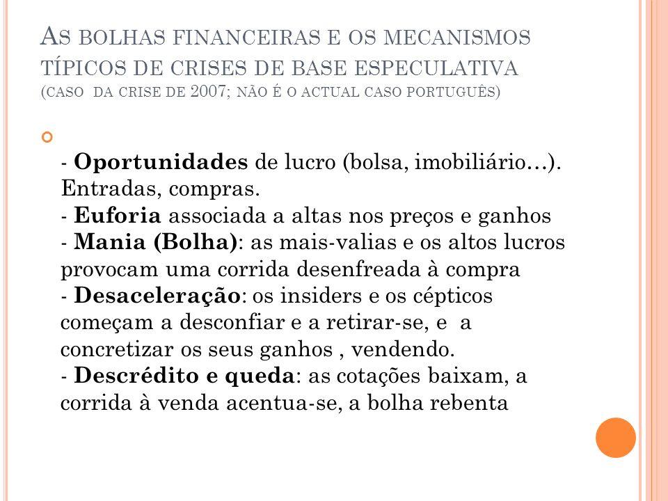 As bolhas financeiras e os mecanismos típicos de crises de base especulativa (caso da crise de 2007; não é o actual caso português)