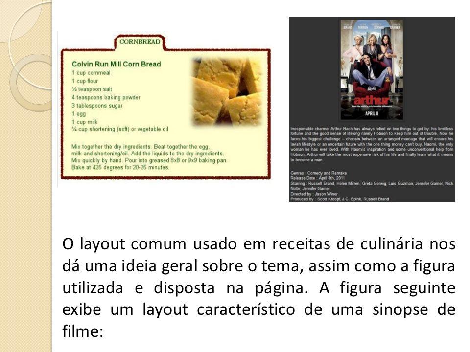 O layout comum usado em receitas de culinária nos dá uma ideia geral sobre o tema, assim como a figura utilizada e disposta na página.