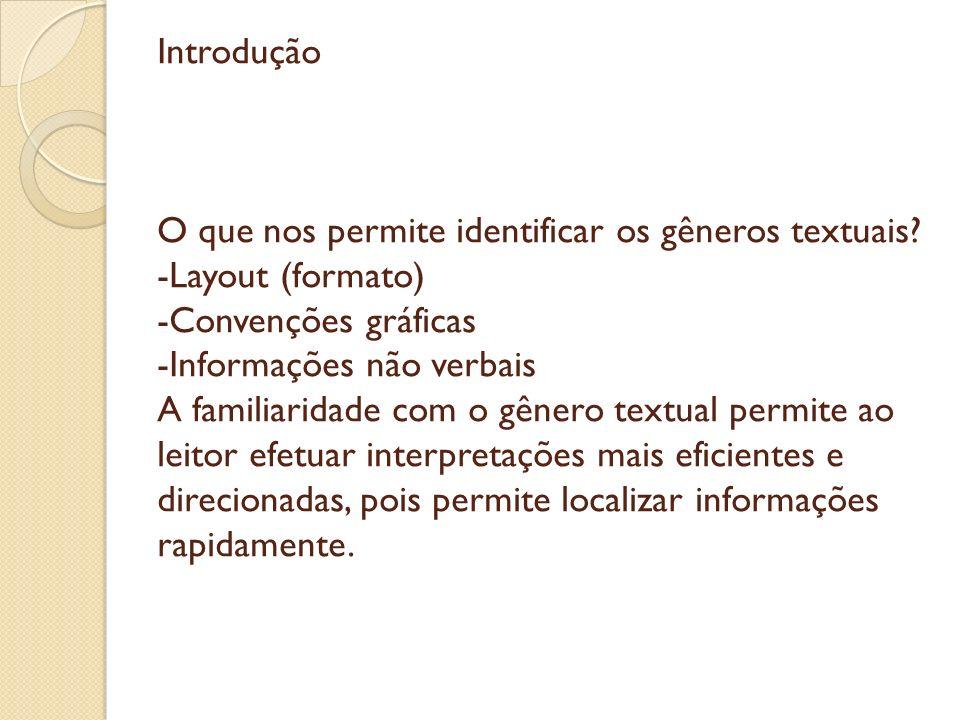Introdução O que nos permite identificar os gêneros textuais