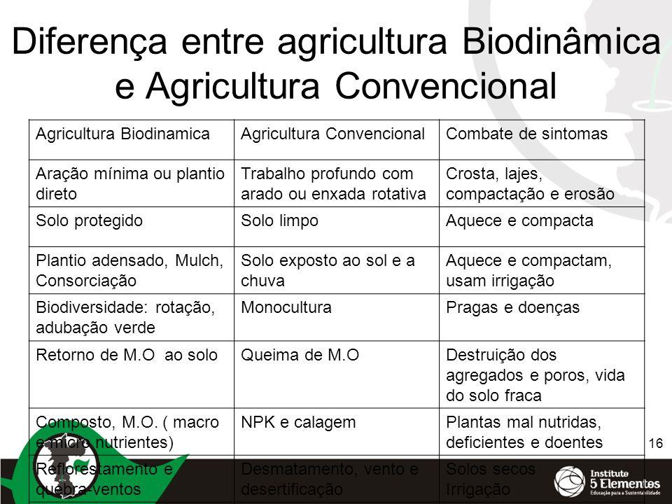 Diferença entre agricultura Biodinâmica e Agricultura Convencional