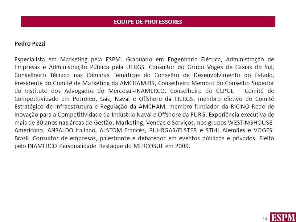EQUIPE DE PROFESSORES Pedro Pezzi.