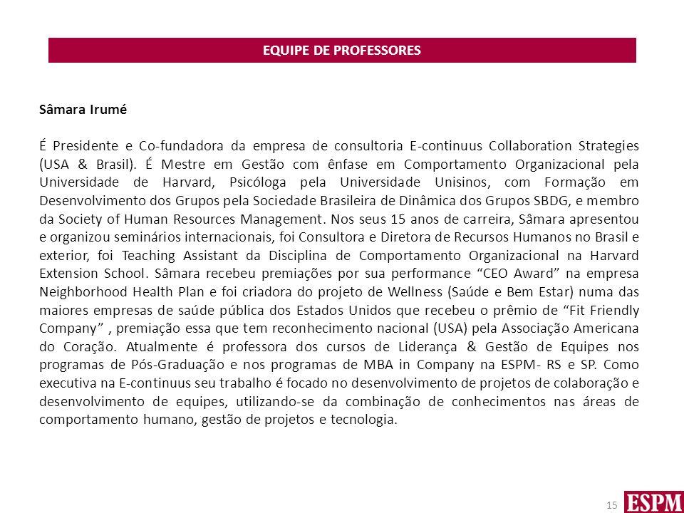 EQUIPE DE PROFESSORES Sâmara Irumé.
